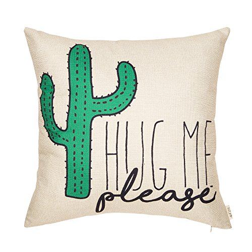 Fjfz Please Hug Me Cactus Funny Quote Cotton Linen Home Decorative Throw Pillow Case Cushion Cover with Words Sofa Couch, 18