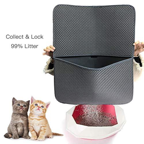 CLORIS-Large-EVA-Cat-Litter-Mat-28-in-Litter-Trapping-Mat-Litter-Locker-cat-mat-Cat-Litter-Box-Mat-Scatter-ControlDual-Layer-Honeycomb-Design-Washable-Waterproof