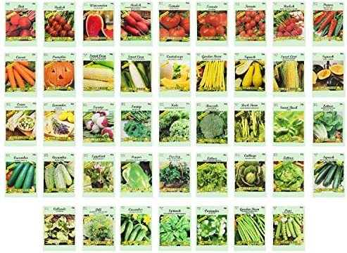 Set of 43 Assorted Vegetable & Herb Seeds 40 Varieties Create a Deluxe Garden All Seeds are Heirloom, 100% Non-GMO! by Black Duck Brand 40 Different Varieties
