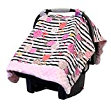 Itzy Ritzy Car Seat Canopy - Infant Car Seat Cover Fits All Car Seats, Includes Toy Loops and Can Unfold Into a Soft Minky Tummy Time Mat, Floral Stripe