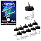 Master Airbrush Brand Box of 10-each TB-002 3/4-Ounce, (22cc) Glass Bottle Air Brush Depot Airbrushing Accessories, Works with Master, Badger, Paasche Airbrushes, Also Includes a (FREE) How to Airbrush Training Book to Get You Started