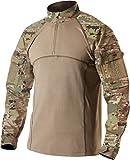 CQR Men's Combat Shirt Tactical 1/4 Zip Assault Military Top Camo EDC, Combat Shirts(tos201) - Multi Terrain, Large