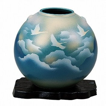 Jpanese traditional ceramic Kutani ware. Ikebana flower vase. Sea of cloud and crane. With wooden box. ktn-K5-1311