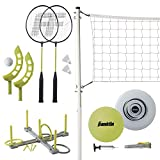 Franklin Sports Fun 5 Combo Set — Badminton, Volleyball with Pump, Ring Toss, Flip Toss, and Flying Disc — Carrying Bag Included