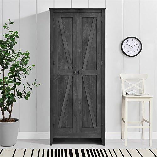 Ameriwood Home Farmington Wide Storage Cabinet, 31.5″, Rustic Gray