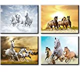 Horse Pictures Painting Canvas Wall Art Decor for Bedroom, Rustic Tan Horses Prints of Wild Western Steed Running in Sunset (Set of 4, Waterproof Artwork, 1' Thick Frame, Bracket Fixed Ready to Hang)