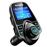 VicTsing Bluetooth FM Transmitter for Car, Wireless Bluetooth Radio Transmitter Adapter with Hand-Free Calling and 1.44' LCD Display, Music Player Support TF Card USB Flash Drive AUX-Black