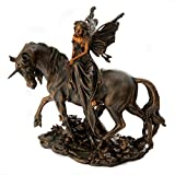 Top Collection Fairy on Unicorn Statue Holding Flower - Hand Painted Mythical Creature Figurine with Bronze Finish Look-10.5-Inch Sculpture