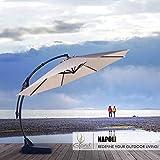 Grand Patio Napoli Deluxe 12 FT Curvy Aluminum Offset Umbrella, Patio Cantilever Umbrella with Base, Champagne