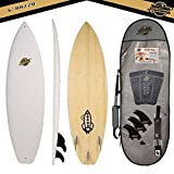 Gold Coast Surfboards - 6' Hybrid Soft Top Surfboard -The Razzo -No Wax Needed Foam Surfboard Deck, Rubber Logo, & GoPro Mount + BAMBOO Bottom Deck- Soft Surfboard Shortboard FCSII Fin Boxes PKG
