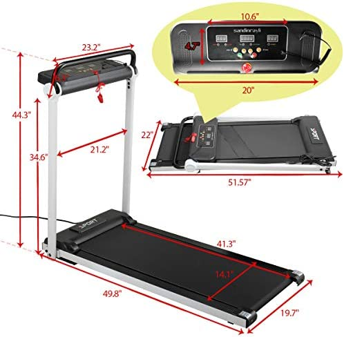 JAXPETY Electric Folding Treadmill 2.0HP Fitness Motorized Running Jogging Machine Perfect for Home/Office Gym with Large LED Display, 12 Preset Programs, Black 3