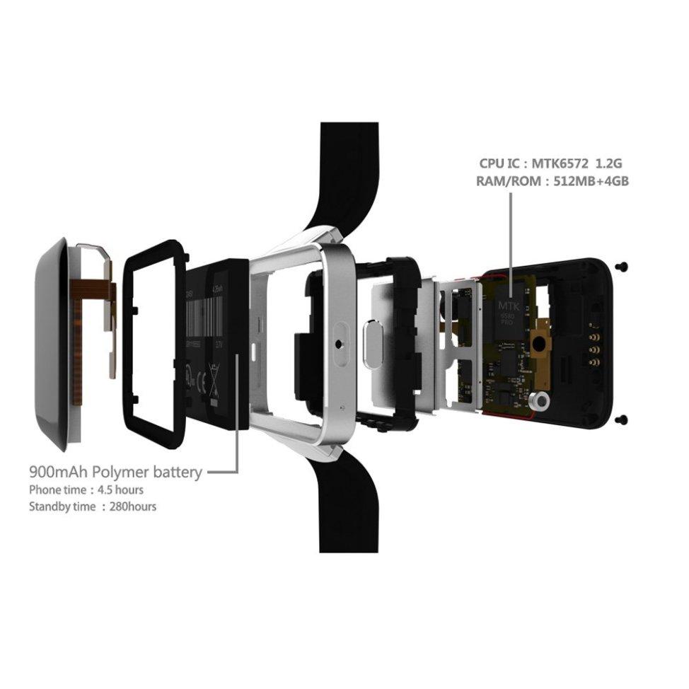 docooler DM98スマートウォッチフォンsimカード可能(au不可) 3G WCDMA MTK6572A デュアルコア 1.2GHz CPU Android 4.4 OS 512MB RAM 4GB ROM 900mAh バッテリー BT4.0 1.3MPフロントカメラ GPS 歩数計 睡眠監視