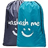 HOMEST 2 Pack Wash Me Travel Laundry Bag, 28'×40' Rip-Stop Nylon Heavy Duty Dirty Clothes Bag with Drawstring, Machine Washable, Anti-Odor, Light Blue and Grey