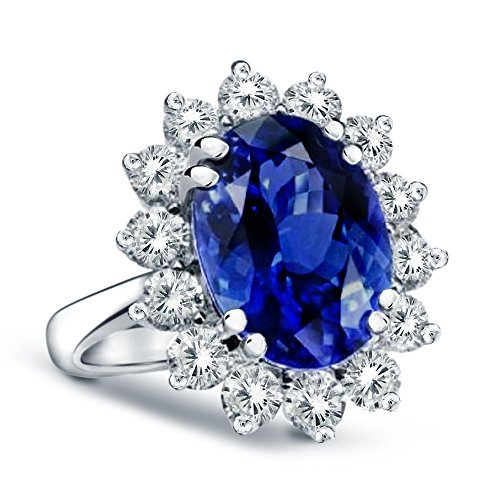 51rTOjaQjSL Genuine oval shape sapphire with genuine side diamonds Sapphire total carat weight: 2.00 ct; quality grade: AA; Sapphire dimensions: 9mm x 7mm Diamond total carat weight: .70 ct; Diamond color: H-I-J; Diamond clarity: I1-I2