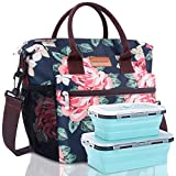 BALORAY Lunch Bag Insulated Lunch Bag Leak Proof Lunch Tote Bag for Women Men Aduts Work Hiking Beach Picnic Fishing (Flower)