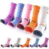 DearMy 5Pack of Women's Multi Performance Cushion Outdoor Hiking Crew Socks | Moisture Wicking | Gifts for Women | Year Round (Medium (Shoe size 8-10 US), Orange/Grey/Purple/Blue/Pink - 5pack)