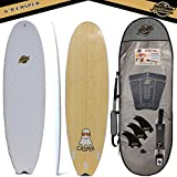 Gold Coast Surfboards - 6'8 Hybrid Soft Top Surfboard -The Casper-No Wax Needed Top Soft Foam Surfboard Deck, Rubber Logo, & GoPro Mount +BAMBOO Bottom Deck-Swallow Tail with FCSII Fin Boxes PKG