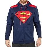 Superman Poly Adult Men's Navy Hoodie Zip Up Sweatshirt (Medium)