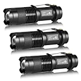 3 Pack UltraFire Mini Flashlights Focus Adjustable SK68 Single Mode Tactical LED Flashlight, Ultra Bright 300 Lumens Torch