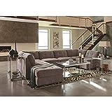 Coaster Home Furnishings 551005 Living Room Corner Sofa, Dove/Black