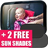 Baby Car Mirror |Baby Mirror for Car + 2 Free Sunshades|Safely Monitor Infant Child in Rear Facing Car Seat, Wide View Shatterproof Adjustable Acrylic 360°for Backseat, Crash Tested
