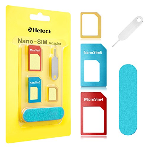 SIM Card Adapter, Helect 5-in-1 Nano & Micro SIM Card Adapter Kit Converter with Polish Chip and Eject Needle - H1050
