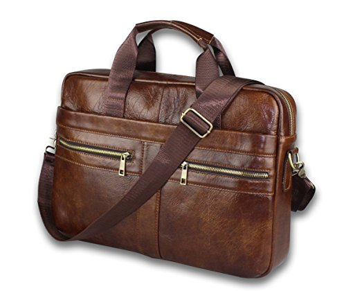 Timeless Genuine Leather Messenger Bag for Men – Gorgeous Superior Brown Carry All Briefcase with Padded Laptop Protection for 14 Inch Computer – Shoulder Satchel or Crossbody Bag w/Adjustable Strap