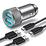 Car Charger, LEEKOTECH 24W 4.8A Dual USB Car Charger Adapter AL-Alloy + 2-Pack 3FT Braided USB Type C Fast Charging Cable Kit Compatible Samsung Galaxy S10 S10e S9 S8 Plus, LG V40 G8, Pixel -Updated