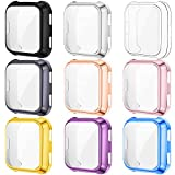 KIMILAR [9-Pack] Screen Protector Case Cover Compatible with Fitbit Versa, All-Around Screen Protective Case Bumper Cover Saver Soft TPU Plated Case Compatible with Versa Smartwatch