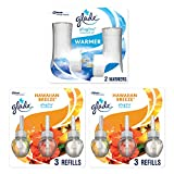 Glade PlugIns Scented Oil Warmer and Hawaiian Breeze Starter Kit (2 Warmers + 6 Refills), Essential Oil Infused Wall Plug in, Up to 50 Days of Continuous Fragrance, 2 Warmers, 4.02 FL OZ, Pack of 6
