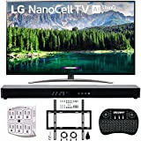 "LG 55SM8600PUA 55"" 4K HDR Smart LED NanoCell TV w/AI ThinQ 2019 Model with Home Theater 31"" Soundbar, Wireless Backlit Keyboard, Flat Wall Mount Kit & SurgePro 6-Outlet Surge Adapter"