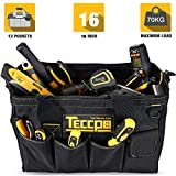 TECCPO Tools Bag 18 Inch, Wide Mouth Close top Tool Storage Bag with Adjustable Shoulder Strap for Electrician -THTB01B