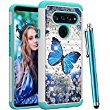 CAIYUNL for LG V40 ThinQ Case,LG V40 Case,Luxury Bling Studded Rhinestone Glitter Women Girls Dual Layer Hybrid Shockproof Hard PC&TPU Protective Phone Cover for LG V40 /LG V40 ThinQ -A Blue Butterfly