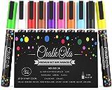 Fine Tip Chalk Markers - Pack of 10 neon Color pens - Non Toxic Wet Erase Chalkboard Window Glass Pen - 3mm Reversible Bullet & Chisel Nib