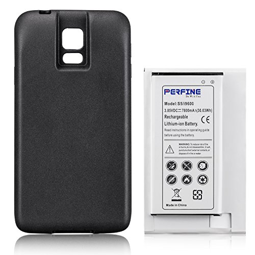 Perfine Battery 7800mAh Compatible with Samsung Galaxy S5 i9600, Extended Battery EB-BG900BBC with NFC for I9600, G900F, G900 Battery+Black TPU Protective case [180-day Warranty]