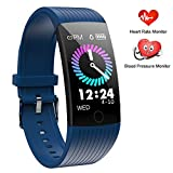 Fitness Tracker HR, Activity Tracker Watch with Heart Rate Monitor,1.14 Inch Color Screen Pedometer Watch Blood Pressure Monitor Sleep Monitor Fitness Watch, Calories Tracker,IP67 Waterproof (Blue)
