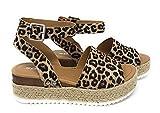 Soda Topic Casual Espadrilles Flatform Wedge Open Toe Sandal Oat Cheetah (6)