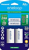 Panasonic K-KJS1MCA2BA eneloop D Size Battery Adapters with eneloop AA 2100 Cycle Ni- MH Pre-Charged Rechargeable Batteries, 2 Pack with 2'D Adapters
