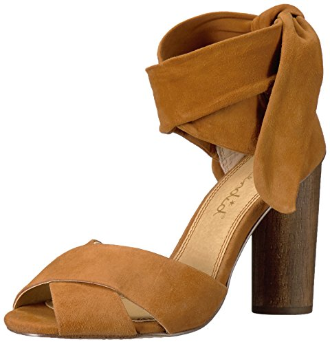 51rw%2BHU42JL Suede cross-over strap sandal with stacked block heel and wrap at the ankle Peep toe