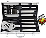 ROMANTICIST 20pc Heavy Duty BBQ Grill Tool Set with Cooler Bag - Great Grill Gift Set for Men Dad on Fathers Day - Outdoor Camping Tailgating Barbecue Grill Accessories in Aluminum Case