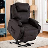 Mecor Power Lift Chair Recliner for Elderly Electric Lifting Chair Bonded Leather Sofa Chair with Remote Control/Cup Holders/Reinforced Heavy Duty Reclining Mechanism for Living Room (Brown)