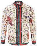PIZOFF Mens Long Sleeve Luxury Red-Green Print Dress Shirt Y1792-24-S