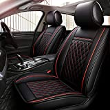 INCH EMPIRE 2 Front Car Seat Cover-Waterproof PU Leather Cushion Anti-Slip Suede Backing-Universal Fit for Both Fabric and Leather Seats Easy to Clean(2 Pcs of Black with Red Line)