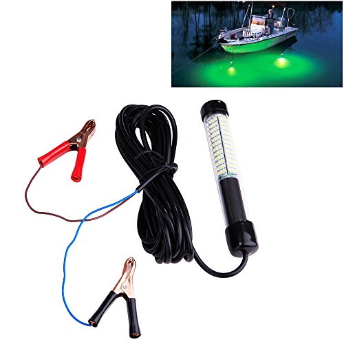 Lightingsky 12V 10.8W 180 LEDs 1080 Lumens LED Submersible Fishing Light Underwater Fish Finder Lamp with 5m Cord (Green)