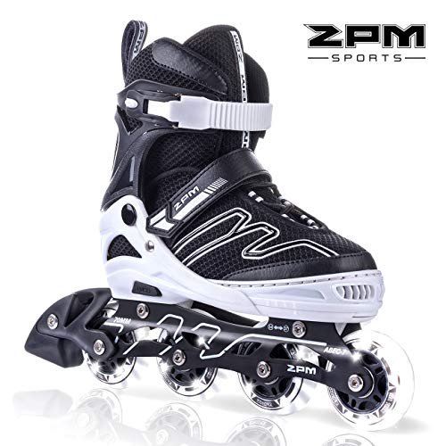 2PM SPORTS Exthrax Kids Adjustable Inline Skates with Light up Wheels, Fun Flashing Illuminating Roller Skates for Boys Girls, Men and Ladies, Large(4-7 US)