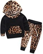 Baby Girls Floral Hoodie+ Floral Pant Set Leggings 2 Piece Outfits For 6M-3Y (6-12Months, Leopard)