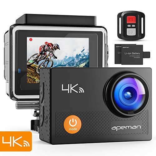 APEMAN Action Camera 4K WiFi 16MP Waterproof Underwater Camera Ultra Full HD Sport Cam 30M Diving with 2″ LCD 170 Degree Wide-Angle, 2.4G Remote Control, 2 Rechargeable Batteries, 20 Accessories Kits