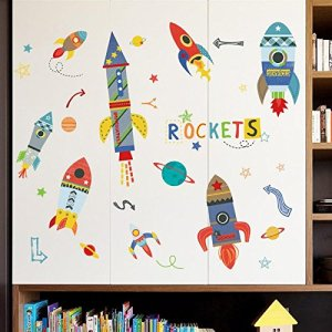 Decals Design 'Boys Room Decoration Colourful Rockets in Space School' Wall Sticker (PVC Vinyl, 60 cm x 90 cm)