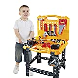 120 Pieces Toy Power Workbench, Kids Power Tool Bench Construction Set with Tools and Electric Drill, Toddlers Toy Shop Tools for Boys