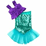 iEFiEL Kids Girls Shiny Sequins Mermaid Tails Party Holiday Costume Outfits Top+Skirt Purple&Green 6